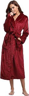 Aibrou Accappatoio Flanella Donna Invernale, Vestaglia Lunga Donna in Pile con Cintura, Accappatoio Unisex Spugna Pigiama ...