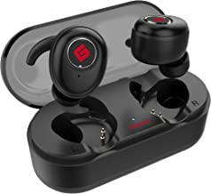 True Wireless Earbuds Bluetooth 5.0 Headphones, Sports in-Ear TWS Stereo Mini Headset w/Mic Extra Bass IPX5 Waterproof Low Latency Instant Pairing 15H Battery Charging Case Noise Cancelling Earphones