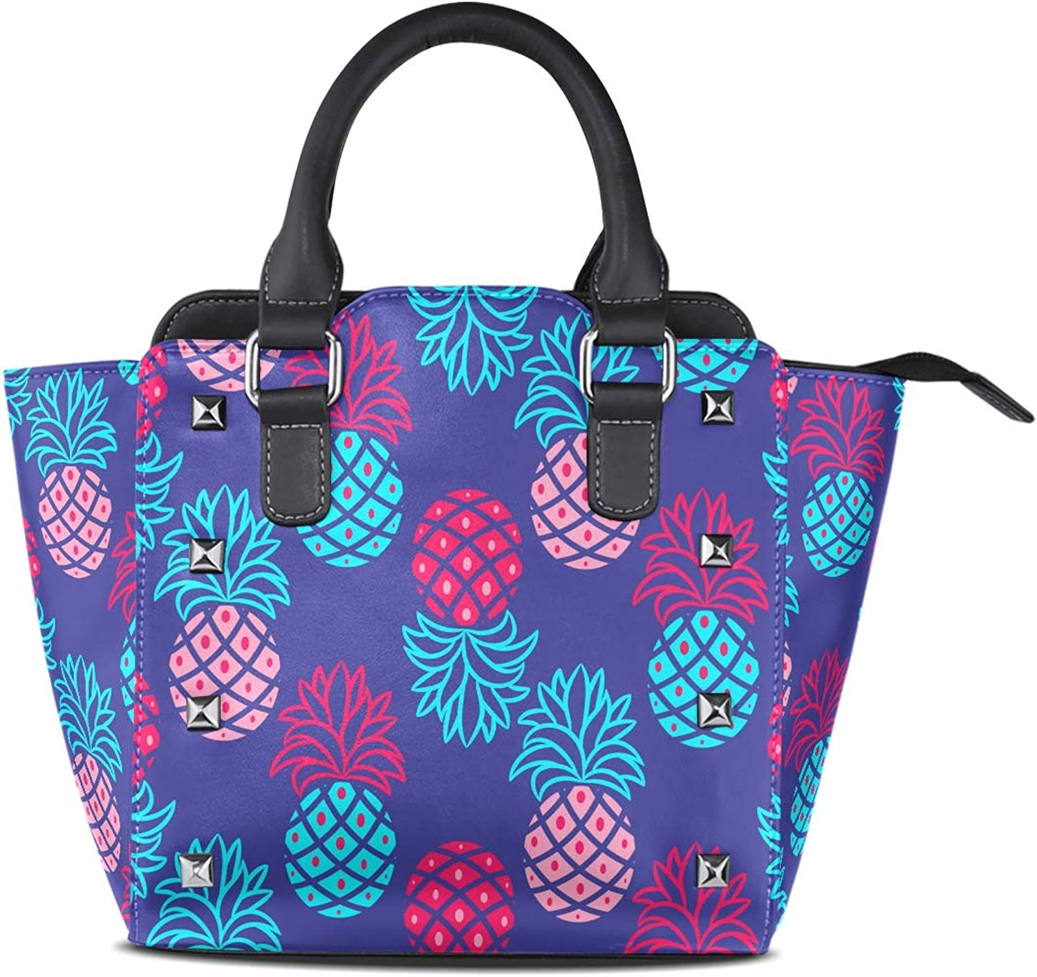 My Little Nest Women's Top Handle Satchel Handbag bluee Pink Pineapple Ladies PU Leather Shoulder Bag Crossbody Bag
