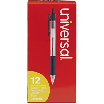 UNIVERSAL Comfort Grip Ballpoint Retractable Pen Black Ink Medium Dozen 15510