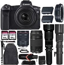 $3199 » Canon EOS R Mirrorless Camera w/Extra Canon LP-E6N Battery Pack + 4 Lens Kit (RF 24-105mm f/4L USM + 75-300mm f/4-5.6 III + 500mm f/8 Preset + 650-1300mm Zoom) + Premium Accessory Bundle