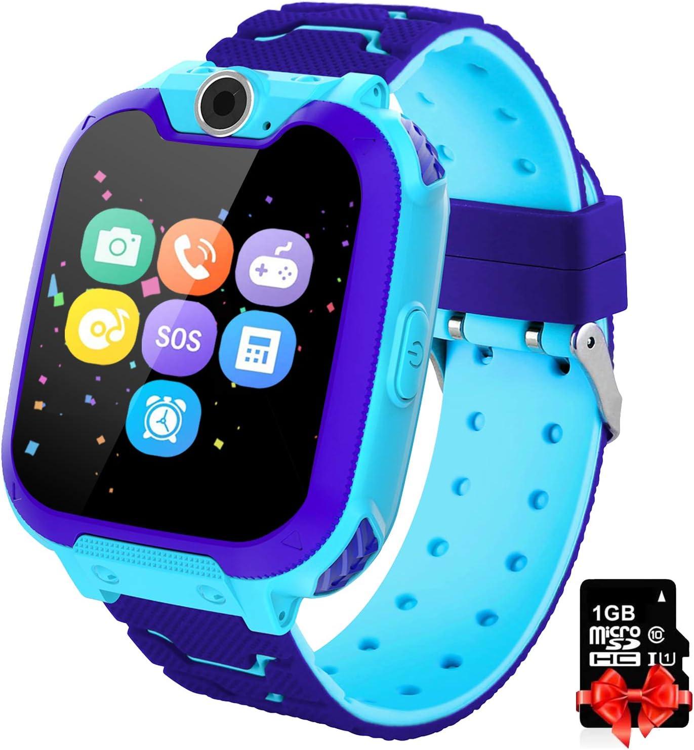 Smartwatch Niños Telefono Estudiante, Lata Realiza Llamadas Mensajes Mp3 Musica Reloj Infantil Reloj Digital Reloj Despertador Juegos Reloj Inteligente para Niños de Edad 3-12 Niño Regalo (Azul)