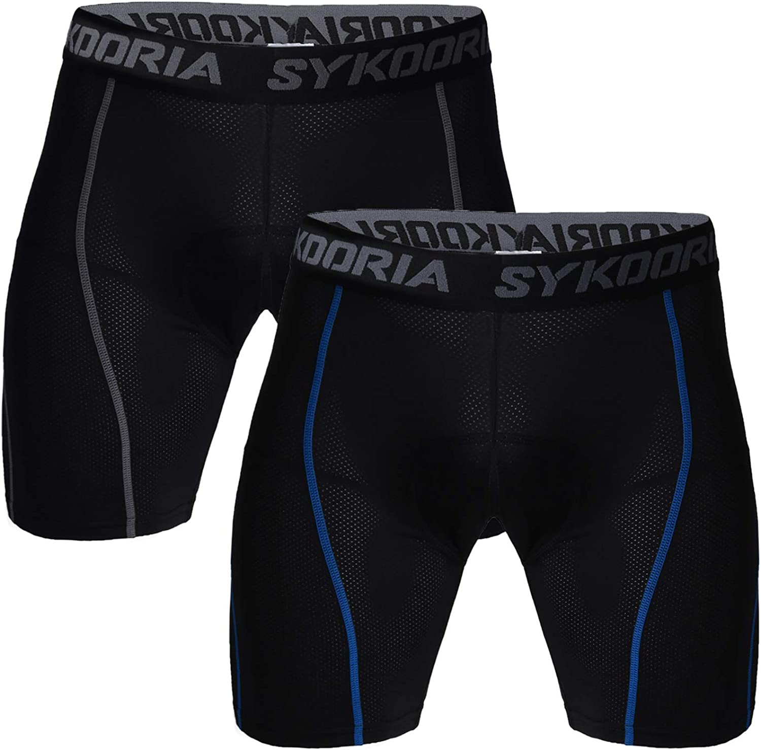 Sykooria 2 Pack MTB Cycling Shorts Mens 3D Padded Cycling Pants Breathable Bicycle Wear