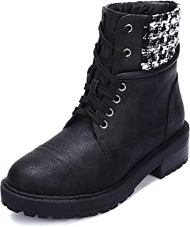 Leather Ankle Boots for Women Lace up Combat Work Boots with Low Heel