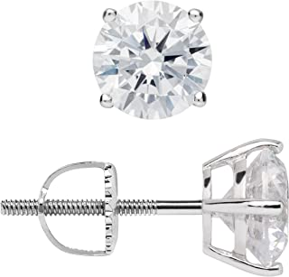 96f54b0ca 14K Solid White Gold Round Cut Cubic Zirconia Stud Earrings | .50 to 4.0 CTW