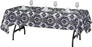 """Velvet Flocking Design Taffeta Damask Rectangular Tablecloth - 60"""" x 102""""   Black   Pack of 1"""