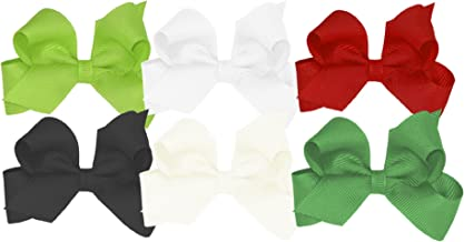 Wee Ones Girls' Mini Bow 6 pc Set Solid Grosgrain Variety Pack on a WeeStay Clip