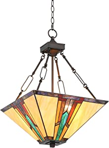 """Ranier Bronze Pendant Chandelier 16"""" Wide Mission Tiffany Style Art Glass 3-Light Fixture for Dining Room House Foyer Kitchen Island Entryway Bedroom Living Room - Robert Louis Tiffany"""
