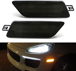 iJDMTOY Smoked Lens Amber Full LED Bumper Side Marker Light Kit For 2014-2020 Porsche Macan, Powered by 40-SMD LED, Replace OEM Front Sidemarker Lamps