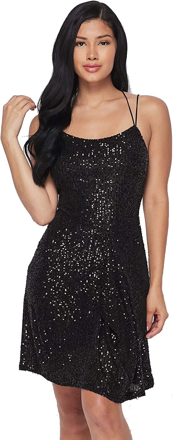 Banjul Women Sexy Sequins Solid Mini Dress Spaghetti Strap Slip Short Dress for Party Cocktails