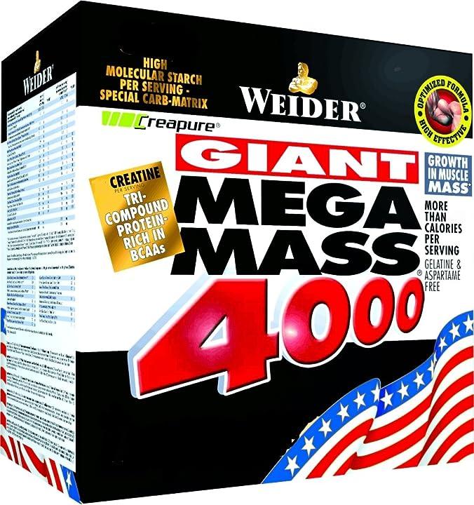 Proteine weider giant mega mass 4000, vaniglia, 4 kg 32705