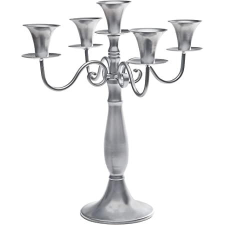 Studio Silversmiths Five Light Silver Metal Candelabra Wedding Centerpiece Candle Holder 14 Inches Home Improvement