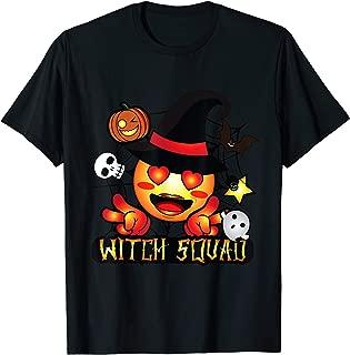 Cute Emoji Creepy Halloween Witch Squad Ghost Pumpkin Hat T-Shirt