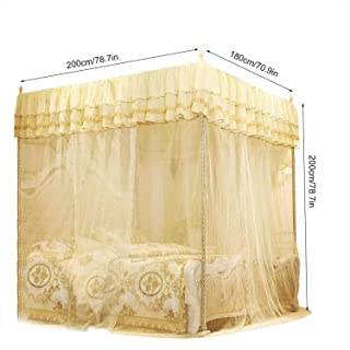sunshine-xj Luxury Princess Three Openings Mosquito Bed Curtain Canopy Palace Top Mosquito Net Bedroom Supplies,White,120X200X200