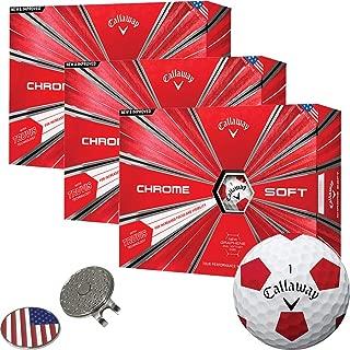 Callaway Golf Chrome Soft Golf Balls (3 Dozens) (Multi Colors) + 1 Custom Ball Marker Clip Set (US Flag)