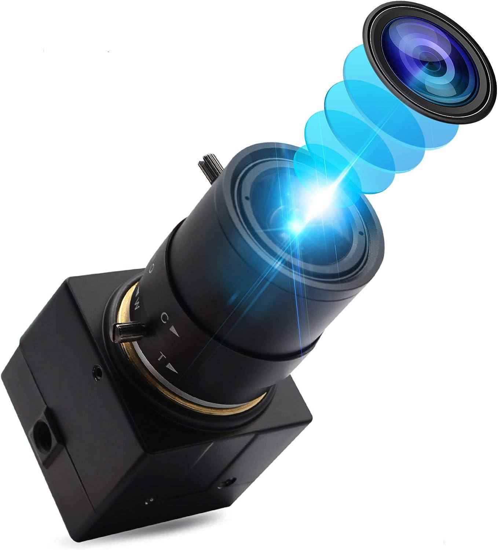 ALPCAM 2MP HD Webcam Varifocal 2.8-12mm Lens Web Camera 1080P USB Camera with Sony IMX322 Sensor Camera Wide Angle H.264 Compress Format 0.01LUX Low Illumination Webcam for Mac/Window/Linux