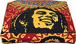 Charoil Enterprises Bob Marley Cotton Cushion Cover Indian Handmade Square Floor Pillow Ottomans Pouffe Cover Boho Decorative Bedroom Ottomans Cover 35'' x 35'' Inches