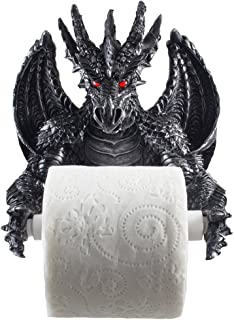 Mythical Winged Dragon Toilet Paper Holder in Metallic Look for Medieval and Gothic Home Decor Bathroom Accessories or Whimsical Fantasy Gifts