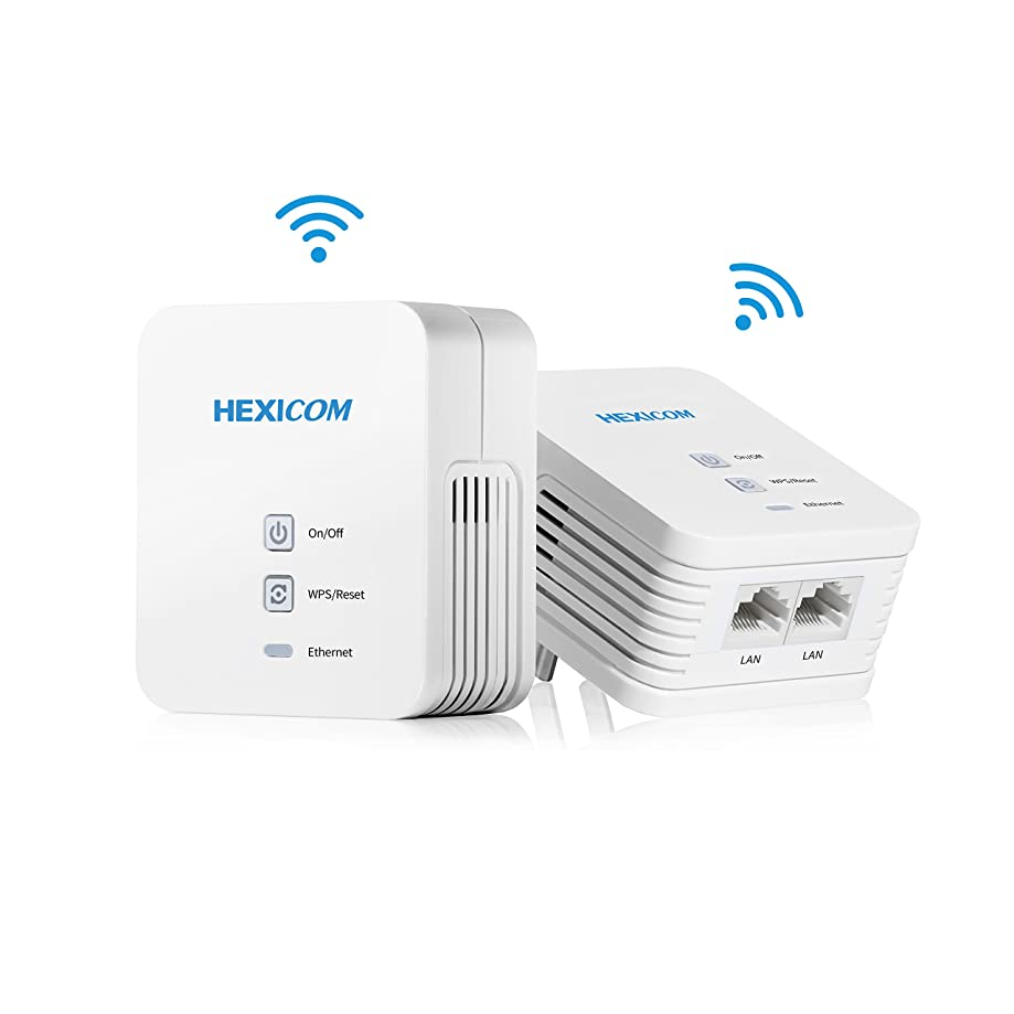 HEXICOM Av 200 Mbps Powerline Ethernet Adapters (Both with WiFi Support) Kit Homeplug Bridge PLC 2 LAN Ports(HM200W/HS200W)