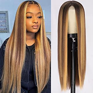 AISI QUEENS Long Straight Highlights Wigs for Women 26 Inch Synthetic Wig Brown Mixed Blonde Middle Part Hair Wigs Heat Re...