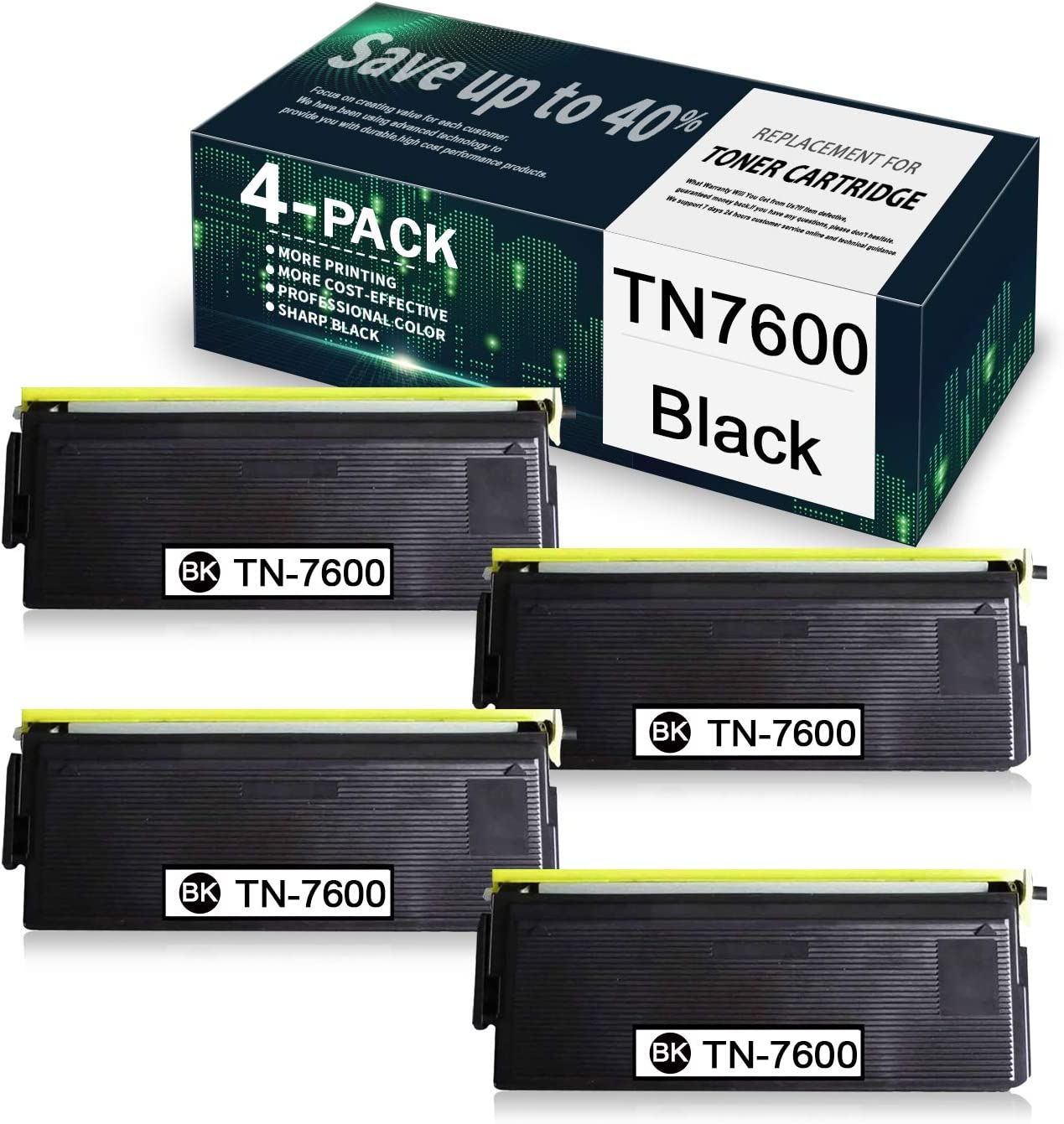 Black TN7600 (4 Pack) Compatible Toner Cartridge Replacement for Brother HL-1030 1200 1430 9750 1440 1240 1250 9650 1250 1650 1870N DCP 1400 MFC 2500 8600 8300J 8700 8500 Printer, Toner Cartridge.