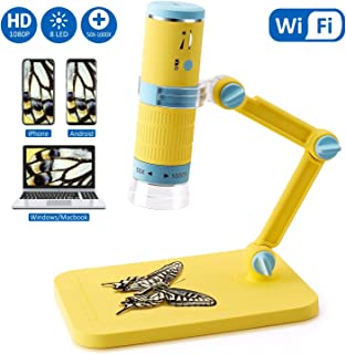 Wireless Digital Microscope, Jionchery 50x to 1000x Magnification Microscope Camera, Mini Pocket Handheld Microscopes with Microscope Stand, Compatible with iPhone Android, iPad MAC Windows