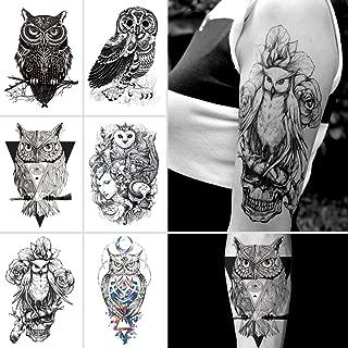 Oottati 6 Sheets 21x15cm Old School Black Sketch Owl Totem Arm Fake Temporary Tattoos Stickers