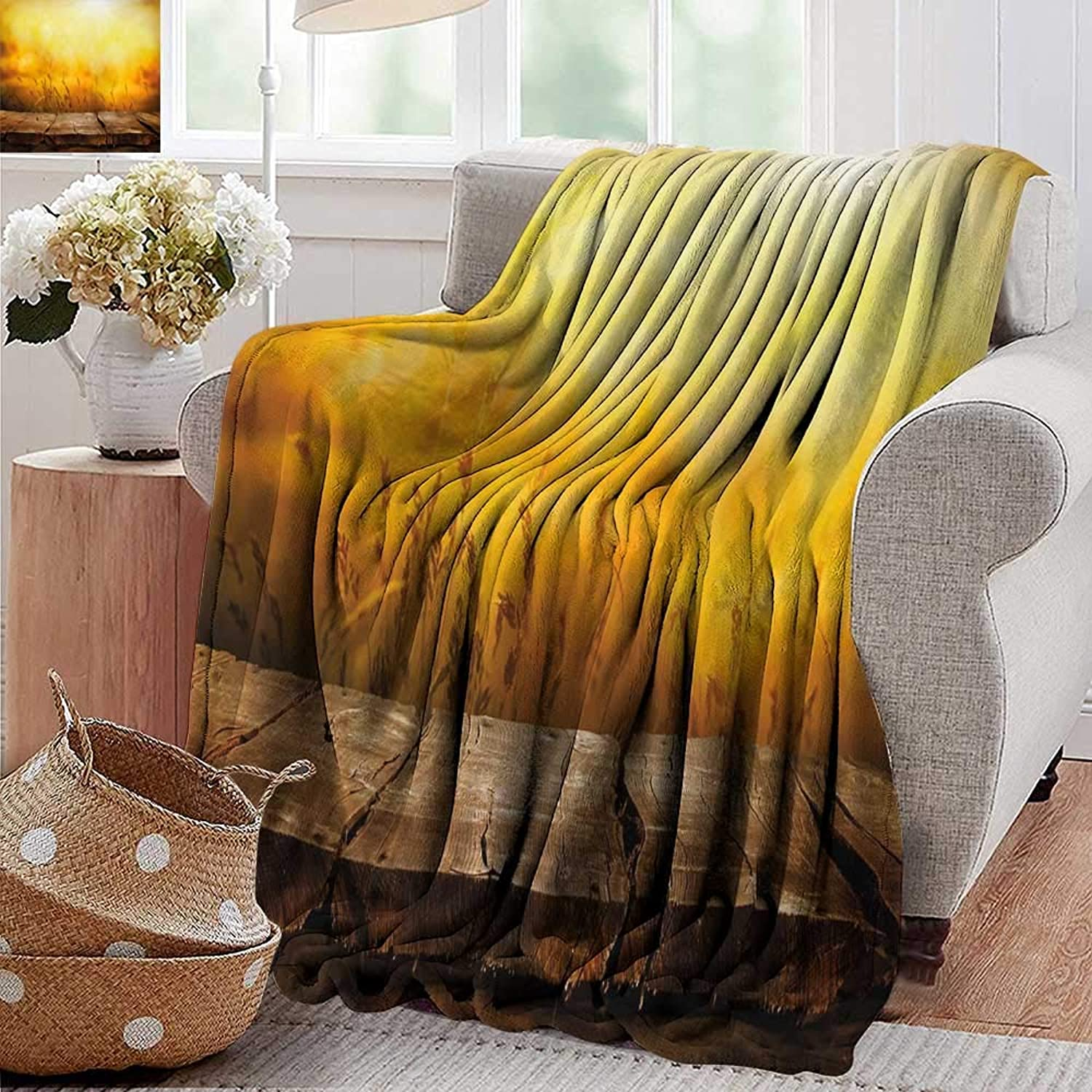PearlRolan Weighted Blanket for Kids,Fall,Empty Wooden Tabletop Layout Setting Sun Afternoon Wheat Agriculture Print,Brown orange Yellow,Weighted Blanket for Adults Kids, Better Deeper Sleep 50 x60