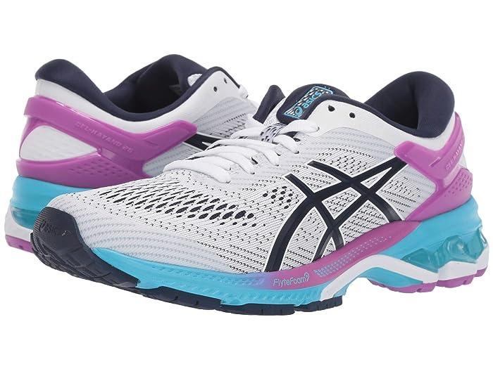 ASICS  GEL-Kayano 26 (White/Peacoat) Womens Running Shoes