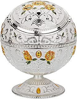 Vintage Windproof Ashtray with Lid for Cigarette Metal Portable Cigar Ashtray Odor Eliminator for Indoor and Outdoor Use Hand Stamped Rose Pattern Fancy Gift for Men Women(Silver- with Green Leaf)