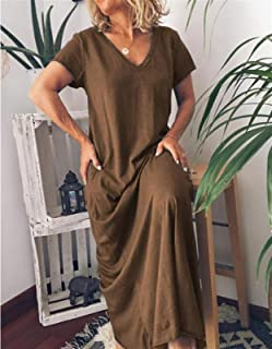 Short-sleeved Dress Summer Solid Color V-neck Loose Casual Ladies Long Dress Elegant Party Outdoor Daily Dress Hyococ (Col...