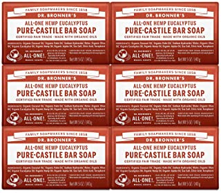 Dr. Bronner's - Pure-Castile Bar Soap (Eucalyptus, 5 ounce, 6-Pack) - Made with Organic Oils, For Face, Body and Hair, Gen...