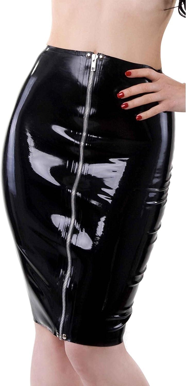 Westward Bound Zip Front Pencil Latex Rubber Skirt. Black.