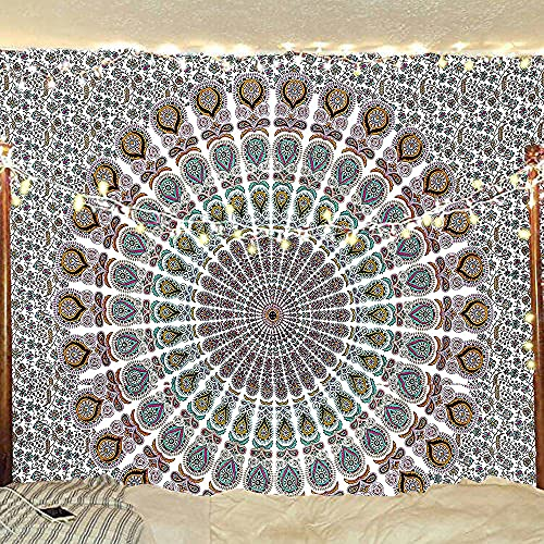 Indian hippie Bohemian Psychedelic Golden Blue Peacock Mandala Wall hanging Bedding Tapestry (Floral Gold, King (88x104Inches)(225x265Cms))