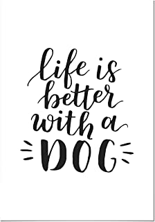 Panorama® Cuadro de Aluminio Life is Better with a Dog 21x30cm   Impreso en Aluminio Blanco   Cuadro Frases Positivas   Cuadros Mensajes Decoración   Cuadros para Dormitorio   Láminas Decorativas