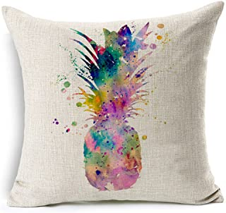 Andreannie Colorful Splash-Ink Painting Abstract Fresh Fruit Pineapple Cotton Linen Throw Pillow Case Cushion Cover Home Office Decorative Square 18 X 18 Inches