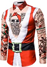 Bravetoshop Men's Ugly 3D Two-Pieces Casual Snowflakes Printed Christmas Shirt Dress Shirt