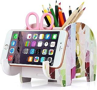 COOLBROS Elephant Pencil Holder with Phone Holder Desk Organizer Desktop Pen Pencil Mobile Phone Bracket Stand Storage Pot...