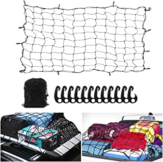 6' x 5' Heavy Duty Bungee Cargo Net Stretches to 12' x 10' -Latex Truck Bed Mesh with 12Pcs Free Adjustable Hooks for The Secure Carrying on Roof Luggage Rack,Cargo Carrier and Pickup Truck Bed