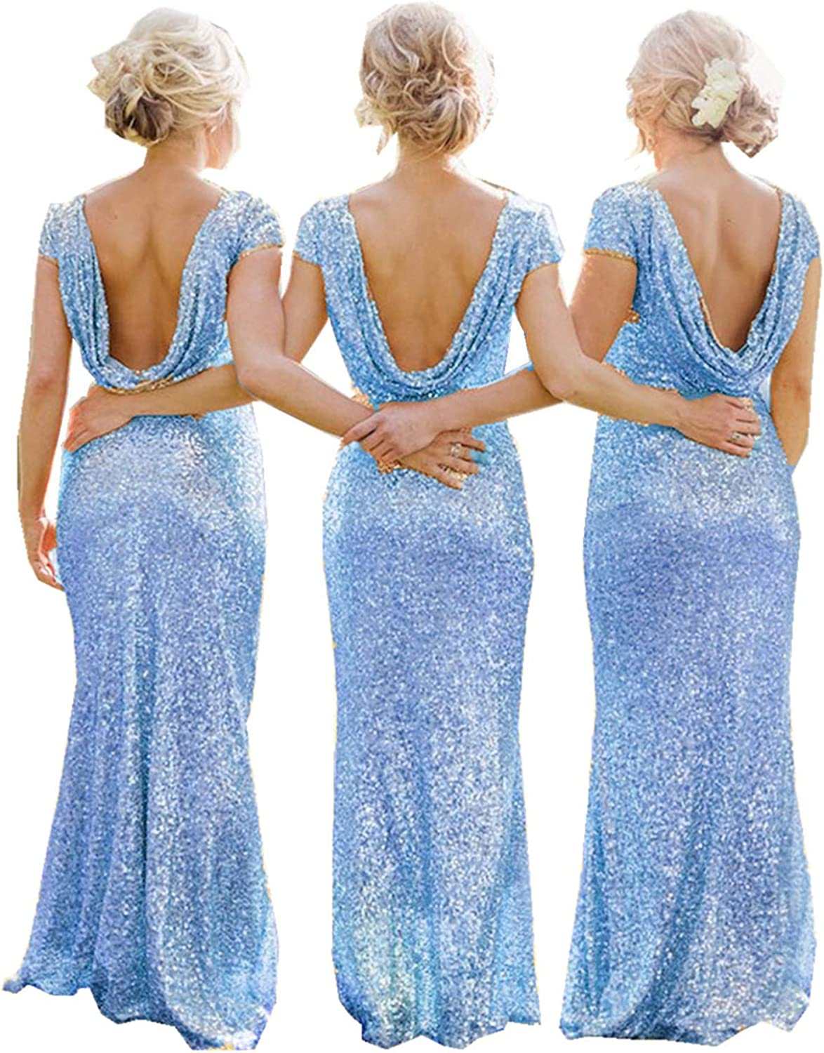 Ruiyuhong Women's Sexy Backless Sequined Bridesmaid Dresses Aline Wedding Party Dresses