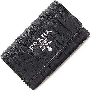 Portachiavi Ganci Nero Black Nappa Gaufre'1 Leather Key Wallet 1PG222
