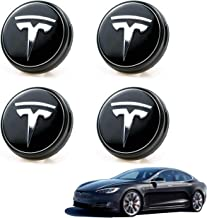 Car Aero Wheel Center Hub Cap Cover for Tesla Model 3,4PCS Emblem LED Light Magnetic Levitation Waterproof Modification,Tire Center Lamp Lighting Modified Accessories for Model 3 Blue Light