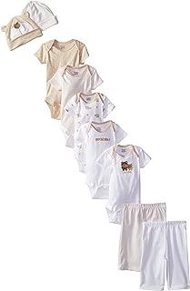 Baby Girls' 9-Piece Onesies Bodysuit, Pant and Cap