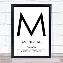 Montreal Canada Coordinates World City Travel Quote Wall Art Print