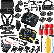 SmilePowo 42 in 1 Accessory Kit Sports Action Camera for GoPro Hero Max 8 7 6 5 4 3 2 1 2019 Fusion Session for AKASO SJCAM APEMAN Campark DJI OSMO, Bike Handlebar Mount, Two Wrist Strap
