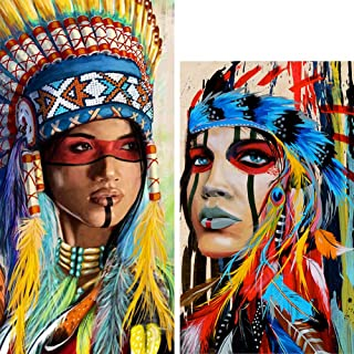 Eiflow 2 Pack Diamond Painting Kits for Adults Full Drill Embroidery Art Kits DIY Paint by Diamonds Round Drill Mosaic Painting for Home Wall Decor - Indian Beautiful Women(30x40cm/25X50cm)