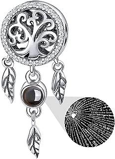 925 Sterling Silver Charm fit Pandora Charms Bracelet Necklace 100 Languages Projection Dream Catcher Charm