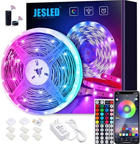WiFi LED Lights Strip for Bedroom 5m, JESLED 5050 RGB LED Rope Lights with RF Remote, Sync to Music, Compatible with ...