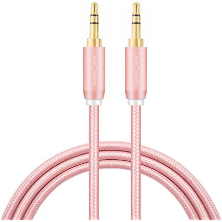 CableCreation 6-Feet 3.5mm Braided Audio Cable, 3.5mm Male to Male Stereo AUX Cable Premium Metal, Compatible with Smartphones, Tablets, MP3 Player, Rose Gold