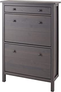 IKEA Hemnes Shoe Cabinet With 2 Compartments, Gray Dark Gray Stained
